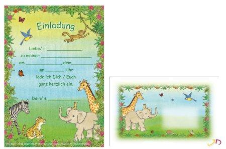 Kindergeburtstag, Mottoparty, Wildtiere Einladungskarten ...